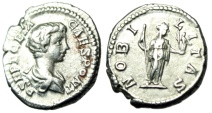 "Ancient Coins - Geta Silver Denarius 'NOBILITAS Nobility"" Rome 199AD RIC 13a Good VF"