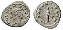 "Ancient Coins - Gallienus Silvered Antoninianus ""FORTVNA REDVX Fortuna"" Rome RIC 193 gVF"