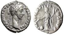 "Ancient Coins - Commodus AR Denarius ""Providentia, Wand Over Globe"" Rome 181 AD RIC 19 nVF"