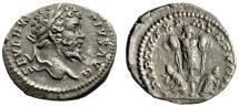 "Ancient Coins - Septimius Severus AR Denarius ""Trophy, Parthian Captives"" Rome 211 AD RIC 176"