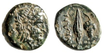 "Ancient Coins - Troas, Neandreia AE13 ""Apollo & Grain Kernel, Grape Cluster"" About EF"