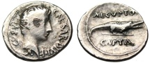 "Ancient Coins - Augustus Fouree Silver Denarius ""AEGVPTO CAPTA Crocodile"" Captivity Egypt Rare"