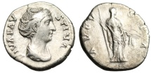 "Ancient Coins - Diva Faustina I Silver Denarius ""AVGVSTA Ceres With Corn, Right"" RIC 359 Scarce"