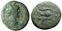 """Ancient Coins - Caracalla AE28 """"Dolphin & Two Tunny Fish"""" Thrace Byzantion Rare"""