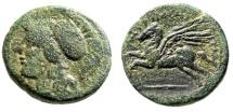 """Ancient Coins - Sicily, Tauromenium (Tauromenion) AE22 """"Athena & Pegasus (Pegasos)"""" Scarce"""