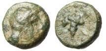 "Ancient Coins - Aeolis, Temnos AE8 ""Apollo & Cluster of Grapes"" Rare aVF"