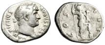 "Ancient Coins - Hadrian AR Denarius ""COS III Virtus, Foot on Helmet"" Rome 124-128 AD RIC 160"