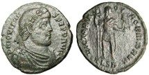 """Ancient Coins - Jovian AE1 """"VICTORIAE ROMANORVM Victory of Rome"""" RIC 235 Thessalonica VF"""