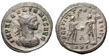 "Ancient Coins - Aurelian Silvered Ant. ""RESTITVTOR EXCERCITI Soldier & Emperor"" Cyzicus RIC 366"