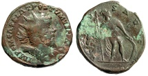 "Ancient Coins - Postumus Double Sestertius ""VIRTVS AVG Virtus, Spear & Shield"" Trier RIC 179 gF"