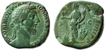 "Ancient Coins - Commodus AE Sestertius ""Annona, Two Figures in Prow"" RIC 442 Brilliant Patina"