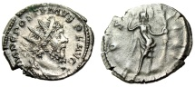 "Ancient Coins - Postumus Silver Antoninianus ""COS IIII Victory With Palm"" RIC 287 Good VF"
