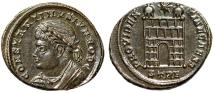 "Ancient Coins - Constantine II Caesar ""PROVIDENTIAE CAESS Campgate"" Trier 326 AD RIC 505 EF"