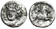 "Ancient Coins - Thessaly, Larissa AR Trihemiobol ""Nymph Facing & Horse Rider"" Good Fine"