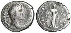 """Ancient Coins - Antoninus Pius AR Denarius """"Tranquillitas, Rudder & Wheat"""" RIC 100 VG"""