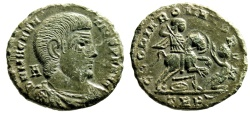"Ancient Coins - Magnentius AE Centenionalis ""Spearing Enemy From Horseback"" Trier RIC 271 EF"
