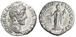 """Ancient Coins - Commodus AR Denarius """"Aequitas With Scales"""" Rome 187 AD RIC 164 nEF"""