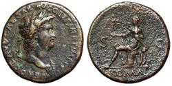 "Ancient Coins - Nero AE Sestertius ""Roma Seated on Arms"" Rome 62-68 AD RIC 273 VF"