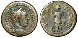 "Ancient Coins - Caracalla AE23 of Tium, Bithynia ""Nemesis Standing, Wheel"" Very Rare"