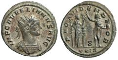 "Ancient Coins - Aurelian Silvered Antoninianus ""PROVIDEN DEOR Sol & Fides"" Siscia RIC 256 Scarce Near EF"