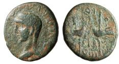 "Ancient Coins - Divvs Augustus (Posthumous) AE18 ""Two Aquila, Signa"" Phoenicia Berytos Scarce"