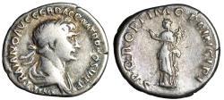 "Ancient Coins - Trajan AR Denarius ""SPQR OPTIMO PRINCIPI Felicitas"" Rome 112-114 AD RIC 272"