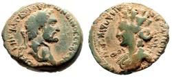 """Ancient Coins - Antoninus Pius AE25 """"Bust of Tyche"""" Laodicea ad Mare Year 188 Desert Patina"""