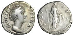 "Ancient Coins - Diva Faustina AR Denarius ""Ceres With Scepter & Corn Ears"" Rome RIC 359 gF"