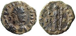 """Ancient Coins - Allectus AE Antoninianus """"FIDES MILITVM Fides, Standards"""" Camulodunum Scarce"""