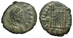 "Ancient Coins - Arcadius AE13 ""GLORIA REIPVBLICAE Campgate, B Left"" Thessalonica RIC 62c VF"