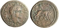 """Ancient Coins - RARE Macrinus AE31 """"ROMAE FEL She-Wolf Suckling Twins"""" Syria Laodicea"""