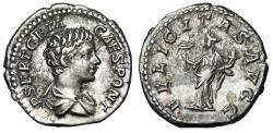 "Ancient Coins - Geta AR Denarius ""FELICITAS AVGG Felicitas, Caduceus"" Rome RIC 8 Good VF"