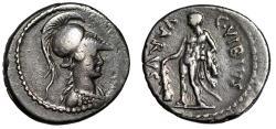 """Ancient Coins - C Vibius Varus AR Denarius """"Minerva & Hercules, Club"""" Rome 42 BC VF"""