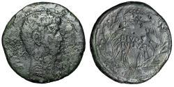 """Ancient Coins - Divus Julius Caesar & Octavian AE30 """"DIVOS IVLIVS in Wreath"""" Italy 38 BC"""
