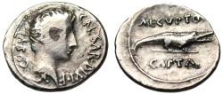 "Ancient Coins - Augustus Fouree Silver Denarius ""AEGVPTO CAPTA Crocodile"" Captivity Egypt Rare"