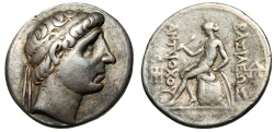 """Ancient Coins - Antiochus I Soter Silver Tetradrachm """"Bust of King & Apollo Seated"""" Scarce VF"""