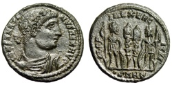 "Ancient Coins - Constantine I The Great AE18 ""GLORIA EXERCITVS Soldiers"" Heraclea RIC 116 EF"