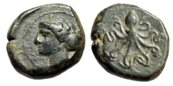 """Ancient Coins - King of Syracuse: Dionisos I Tetras """"Arethusa & Octopus"""" Scarce Good VF Lovely"""