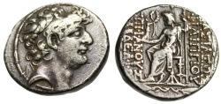 "Ancient Coins - Philip Philadelphos Silver Tetradrachm ""Diademed Head & Zeus Enthroned"" Antioch"