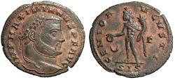 "Ancient Coins - Maximian AE Follis ""GENIO AVGVSTI Genius, Crescent"" Siscia RIC 198a aEF"