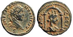 """Ancient Coins - Elagabalus AE16 of Laodicea ad Mare """"Turreted Tyche in Temple"""" Good VF"""