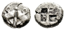 """Ancient Coins - Lesbos, Uncertain Early Mint Billon Diobol """"Confronted Boar's Heads & Incuse"""" VF"""