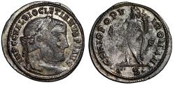 """Ancient Coins - Diocletian Silvered Follis """"Portrait & Genius"""" Thessalonica RIC 23a"""