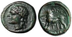 "Ancient Coins - Sicily, Leontini AE15 ""Apollo Portrait, Plow & Lion Standing"" gVF Rare"