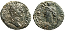 """Ancient Coins - Gallienus AE25 """"Bust of Tyche, Cornucopiae on Shoulder"""" Thrace Coela Mint Rare"""