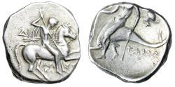 "Ancient Coins - Calabria, Tarentum AR Nomos ""Warrior, Spears & Phalanthos, Dolphin & Nymph Head"""