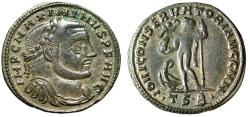 "Ancient Coins - Maximinus II Daia AE Follis ""IOVI CONSERVATORI AVGG Jupiter"" Thessalonica RIC 61"