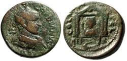 "Ancient Coins - Gordian III AE29 ""Bust of Astarte in Temple, Galley"" Phoenicia, Berytos Rare"