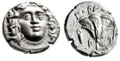 "Ancient Coins - Islands off Caria, Rhodes (Rhodos) AR Drachm ""Facing Helios & Rose, Bowcase"" EF"