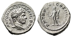 "Ancient Coins - Caracalla AR Denarius ""Hercules With Club & Branch"" Rome 213AD RIC 206a gVF"
